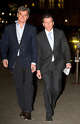 © Licensed to London News Pictures. 02/12/2015. London, UK. NICK DAVIES (left) and Lord SEBASTIAN COE (right) leaving the Houses of Parliament in London after giving evidence before a Commons Culture Media and Sport committee on blood-doping allegations. Lord Coe's chief of staff Nick Davies has stepped aside while the IAAF ethics committee investigates reports he tried to delay the identification of Russian drug cheats..   Photo credit: Ben Cawthra/LNP