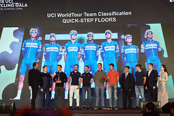 Quickstep Floors receive an award for winning the team classification of the UCI WorldTour at The UCI Cycling Gala 2018 in Guilin, China on October 21, 2018. Photo by Sean Robinson/velofocus.com