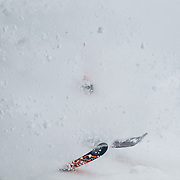 Andrew Whiteford makes powder turns in the Tower Three Chutes area of JHMR.