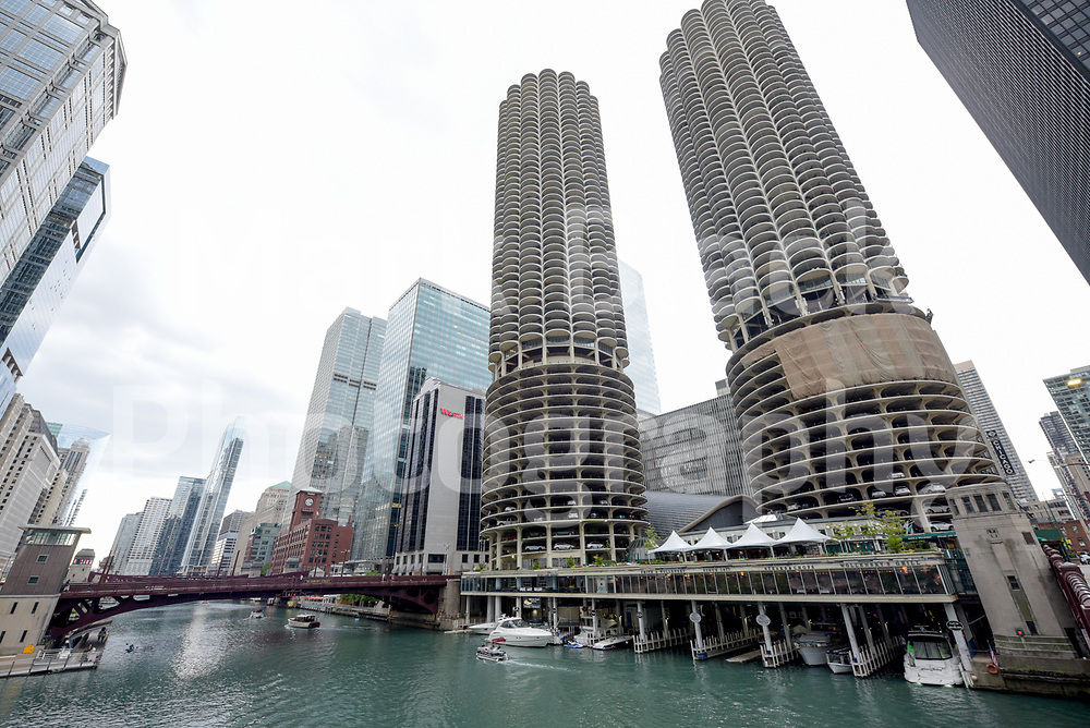 Marina Towers, Marina City along the Chicago River in downtown Chicago, Illinois. Photo by Mark Black