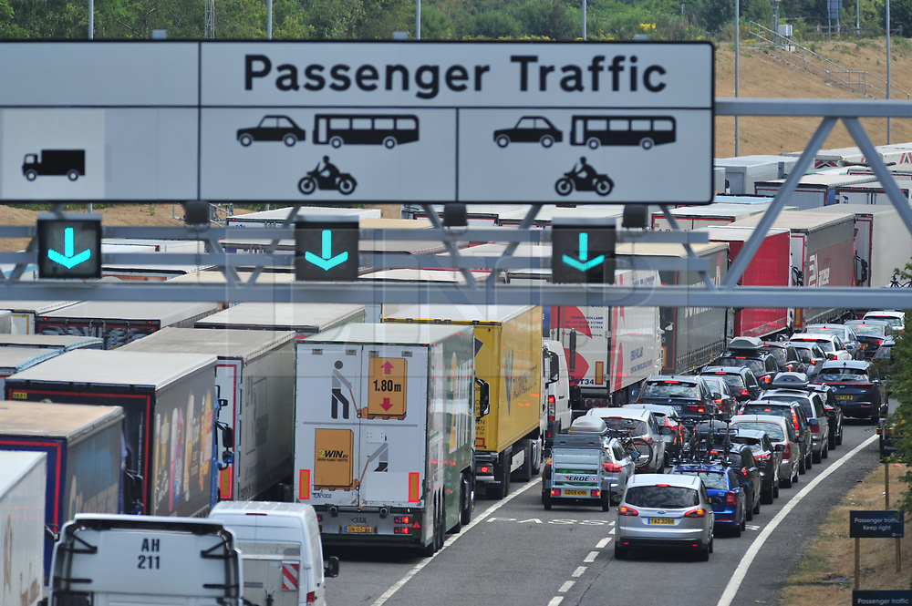 © Licensed to London News Pictures. 27/07/2018<br /> FOLKESTONE, UK.<br /> Long queues for Freight and passenger traffic at Channel Tunnel in Kent.<br /> Extreme and prolonged high temperatures are being blamed for cross Channel rail passengers facing more disruption today at the Channel Tunnel.<br />  Euro Tunnel warning of up to two hour delays at its terminal near Folkestone. <br /> Photo credit: Grant Falvey/LNP