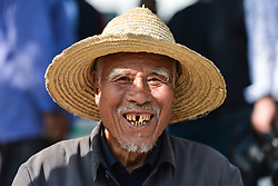 September 12, 2017 - Yunzhu, China - An elderly man seen in the crowd watching the start of the second stage Jinzhong A to B race of the 2017 Tour of China 1, the 197km from Dazhai to Yunzhu. .On Tuesday, 12 September 2017, in Dashai, Jinzhong, Shanxi Province, China. (Credit Image: © Artur Widak/NurPhoto via ZUMA Press)