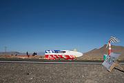 Yannick Lutz in de Altair 3 op de zesde racedag van de WHPSC. In de buurt van Battle Mountain, Nevada, strijden van 10 tot en met 15 september 2012 verschillende teams om het wereldrecord fietsen tijdens de World Human Powered Speed Challenge. Het huidige record is 133 km/h.<br /> <br /> Yannick Lutz in the Altair 3 on the sixth day of the WHPSC. Near Battle Mountain, Nevada, several teams are trying to set a new world record cycling at the World Human Powered Vehicle Speed Challenge from Sept. 10th till Sept. 15th. The current record is 133 km/h.