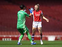 Football - 2021 / 2022 Women's Super League - Arsenal vs Chelsea - Emirates Stadium - Sunday 5th September 2021<br /> <br /> Arsenal Women's Leah Williamson celebrates with Manuela Zinsberger.<br /> <br /> COLORSPORT/Ashley Western