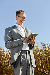 Businessman with digital tablet in cornfield