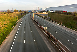 © Licensed to London News Pictures. 24/03/2020. Leeds UK. The A1 motorway near Ferrybridge in Yorkshire is much quieter than usual this morning on the first day of the Covid 19 Lockdown. Photo credit: Andrew McCaren/LNP
