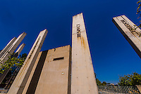 The Pillars of the Constitution. At its heart are seven fundamental values which are represented by the pillars in the first courtyard visitors encounter on arrival at the museum: democracy, equality, reconciliation, diversity, responsibility, respect and freedom. Apartheid Museum, Johannesburg, South Africa.