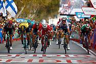 Arrival sprint, Nacer Bouhanni (FRA - Cofidis), Danny Van Poppel (NED - Team LottoNL - Jumbo), Matteo Trentin (ITA - Mitchelton - Scott), Elia Viviani (ITA - QuickStep - Floors) , during the UCI World Tour, Tour of Spain (Vuelta) 2018, Stage 6, Huercal Overa - San Javier Mar Menor 155,7 km in Spain, on August 30th, 2018 - Photo Luca Bettini / BettiniPhoto / ProSportsImages / DPPI