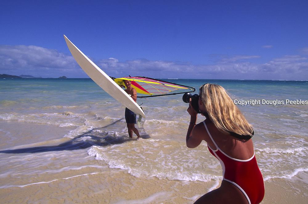 Windsurfing, Lanikai Beach, Oahu, Hawaii<br />