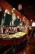 Fish stalls in the Rialto Market - Venice Italy