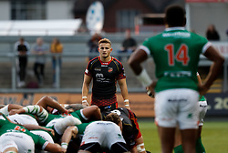 Dragons' Hallam Amos<br /> <br /> Photographer Simon King/Replay Images<br /> <br /> Guinness PRO14 Round 1 - Dragons v Benetton Treviso - Saturday 1st September 2018 - Rodney Parade - Newport<br /> <br /> World Copyright © Replay Images . All rights reserved. info@replayimages.co.uk - http://replayimages.co.uk