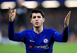 Chelsea's Alvaro Morata gestures on the pitch during the Carabao Cup Semi Final, First Leg match at Stamford Bridge, London.