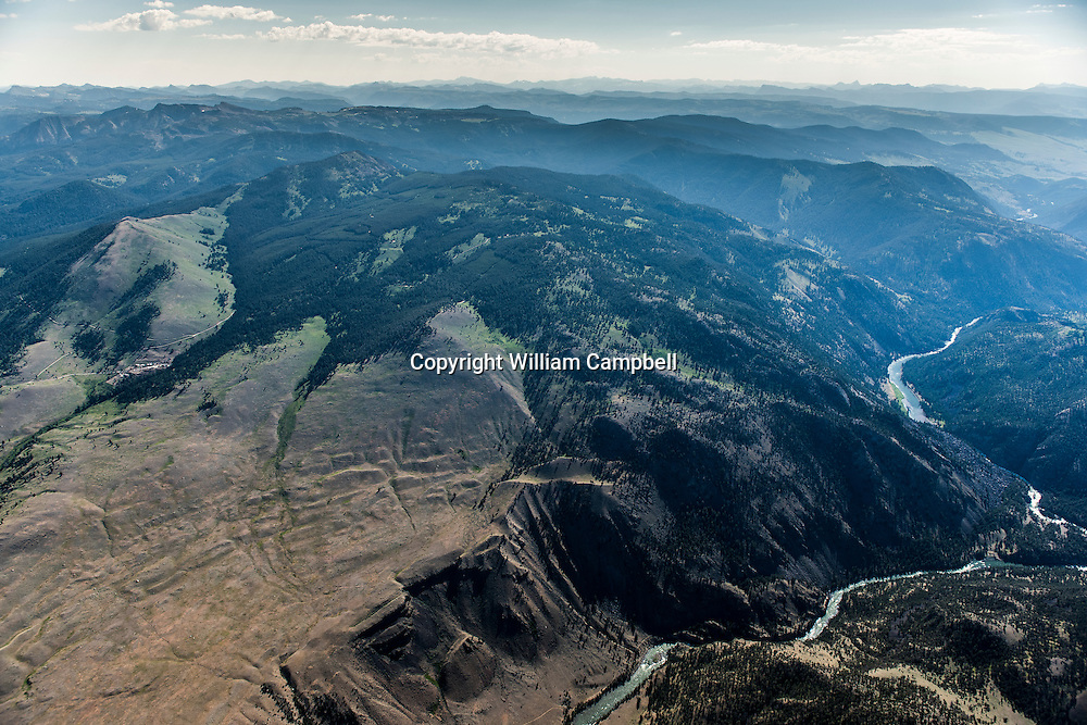 Proposed Crevice Mountain Mine(center left) along the norther border of Yellowstone National Park with Decker Flats in the foreground and Yellowstone river on the right.