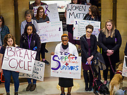 27 MARCH 2019 - ST PAUL, MN, USA:  About 200 people came to the Minnesota State Capitol to rally in support of the survivors of domestic violence and two call for the passage of two bills in the Minnesota legislature. HF464 would invest in intervention programming for the perpetrators of domestic violence and HF479 supports state funding for domestic violence prevention in under served communities.  PHOTO BY JACK KURTZ