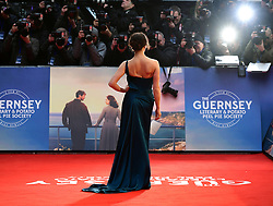 Jessica Brown Findlay attending The Guernsey Literary and Potato Peel Pie Society world premiere held at Curzon Mayfair, London.
