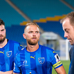 BRISBANE, AUSTRALIA - SEPTEMBER 20: Eoghan Murphy and Justyn McKay of Gold Coast City looks on after the Westfield FFA Cup Quarter Final match between Gold Coast City and South Melbourne on September 20, 2017 in Brisbane, Australia. (Photo by Gold Coast City FC / Patrick Kearney)