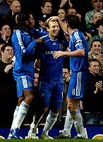 Photo: Ed Godden/Sportsbeat Images.<br />Chelsea v Wigan Athletic. The Barclays Premiership. 13/01/2007. Chelsea's Arjen Robben (centre) celebrates after putting them 3-0 ahead.
