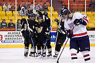 October 13, 2007 - Anchorage, Alaska:  Wayne State celebrates their only goal against Robert Morris University in the 3rd game of the Nye Frontier Classic at the Sullivan Arena.  RMU would go on to be the Classic Champions after host Alaska-Anchorage tied with Boston University in the 4th game of the Classic.