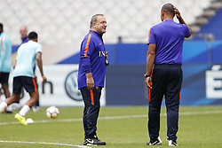 (L-R) coach Dick Advocaat of Holland, assistant trainer Ruud Gullit of Holland during a training session prior to the FIFA World Cup 2018 qualifying match between France and Netherlands on August 30, 2017 at Stade de France in Saint Denis,  France