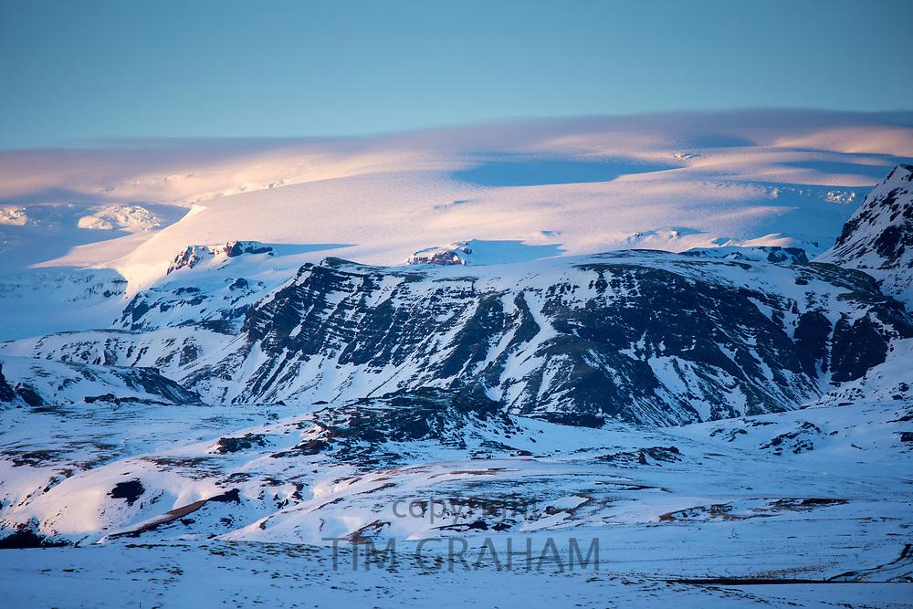 Katla volcano under glacier ice cap in Katla Geopark near Vik, South Iceland