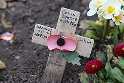 Armistice Day cross at war memorial in Grantham.