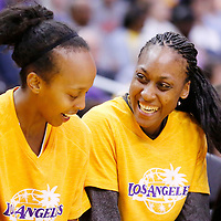 22 June 2014: forward/center Sandrine Gruda (7) of the Los Angeles Sparks is seen on the bench next to forward Farhiya Abdi (13) of the Los Angeles Sparks during the San Antonio Stars 72-69 victory over the Los Angeles Sparks, at the Staples Center, Los Angeles, California, USA.