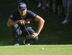August 9, 2018 - St. Louis, Missouri, U.S. - ST. LOUIS, MO - AUGUST 09: Henrik Stenson lines up a putt on the #15 green during the first round of the PGA Championship on August 09, 2018, at Bellerive Country Club, St. Louis, MO.  (Photo by Keith Gillett/Icon Sportswire) (Credit Image: © Keith Gillett/Icon SMI via ZUMA Press)