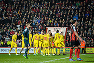 Liverpool celebrate the opening Goal during the Capital One Cup match between Bournemouth and Liverpool at the Goldsands Stadium, Bournemouth, England on 17 December 2014.