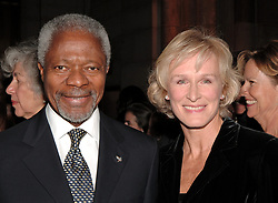 File Photo - United Nations Secretary General Kofi Annan and US actress Glenn Close pose during the International Women's Health Coalition 2006 Benefit dinner held at Cipriani's 42nd street in New York, on Thursday, January 19, 2006. Kofi Annan, the former UN secretary-general who won the Nobel Peace Prize for humanitarian work, has died aged 80, his aides say. Photo by Nicolas Khayat/ABACAPRESS.COM