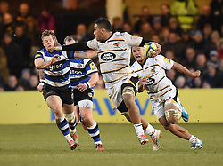 Wasps number 8 Nathan Hughes in Aviva Premiership action against Bath at the Recreation Ground - Photo mandatory by-line: Paul Knight/JMP - Mobile: 07966 386802 - 10/01/2015 - SPORT - Rugby - Bath - The Recreation Ground - Bath Rugby v Wasps - Aviva Premiership