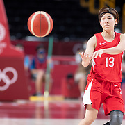 TOKYO, JAPAN August 8:   Rui Machida #13 of Japan in action during the Japan V USA basketball final for women at the Saitama Super Arena during the Tokyo 2020 Summer Olympic Games on August 8, 2021 in Tokyo, Japan. (Photo by Tim Clayton/Corbis via Getty Images)
