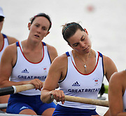 Shunyi, CHINA.  Start of a heat of the womens eights, GBR W8+, left, Natasha PAGE and Natasha HOWARD go through some pre race exercises at the start pontoon. 2008 Olympic Regatta, Shunyi Rowing Course. Monday. 11.2008  [Mandatory Credit: Peter SPURRIER, Intersport Images]