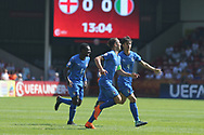 Alessio Riccardi of Italy (10) scores during the UEFA European Under 17 Championship 2018 match between England and Italy at the Banks's Stadium, Walsall, England on 7 May 2018. Picture by Mick Haynes.