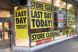© Licensed to London News Pictures. 13/08/2016. Exterior windows signs of British Homes Stores Oxford Street Flagship store as it closes on its last day of trading. London, UK. Photo credit: Ray Tang/LNP