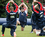 Picture by Andrew Tobin/Tobinators Ltd +44 7710 761829.24/05/2013.England captain Rob Webber stretches during the England training session at Pennyhill Park, Bagshot ahead of the match against the Barbarians on 26th May 2013.