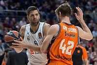 Real Madrid Felipe Reyes and Valencia Basket Aaron Doornekamp during Turkish Airlines Euroleague match between Real Madrid and Valencia Basket at Wizink Center in Madrid, Spain. December 19, 2017. (ALTERPHOTOS/Borja B.Hojas)