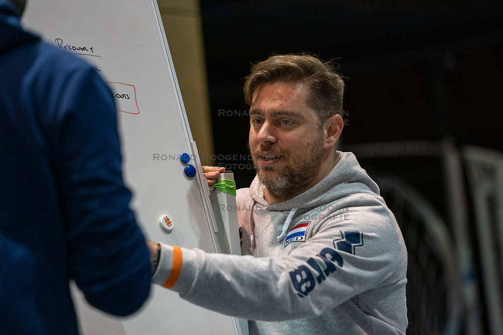 07-05-2019 NED: Press moment national volleyball team Men, Arnhem<br /> Roberto Piazza, the new national coach of the Dutch men's team, gives an overview of the group matches of the Golden European League, the OKT and the European Championship played in their own country. Alessandro Beltrami