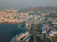 Aerial view of holy ghats by the lake of pushkar town in Rasjasthan state of India.