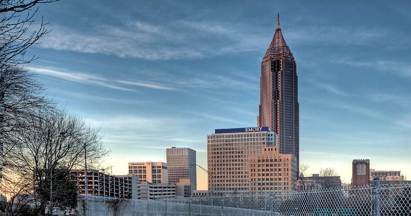 Atlanta skyline with Bank of America and Emory Crawford Long hospital