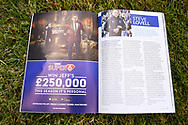 Super6 advert in the programme ahead of the EFL Sky Bet League 1 match between Gillingham and Coventry City at the MEMS Priestfield Stadium, Gillingham, England on 25 August 2018.