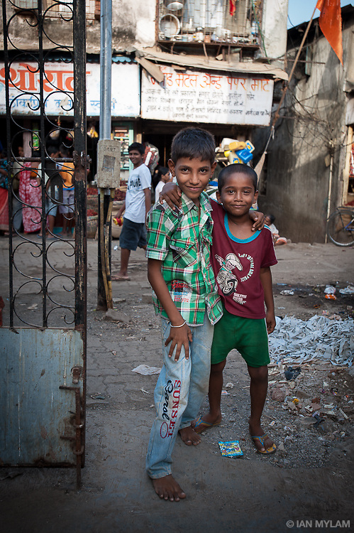 Two young friends in the Dharavi Slum, Mumbai, India