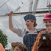 Cutty Sark , London, UK. 21th July 2017. Jordan Leigh-Harris (Boy),Polly Smith (The Butcher)., Lewis Carroll's The Hunting of the Snark, will be visiting the Cutty Sark this Friday to celebrate their west end debut by Vaudeville Theatre