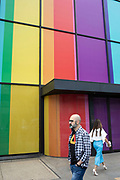 Rainbow coloured office exterior in preparation for the Pride weekend in London, United Kingdom.