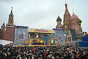 Moscow, Russia, 13/03/2005..Russians on Vasilevsky Spusk by Red Square celebrate the  final day of Maslenitsa, or Pancake Week, a Russian holiday which dates back to pagan times and marks the official end of winter.