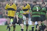 Northampton, Northamptonshire, UK, 08.12.2001,  Saints, Matt Dawson, kicks for touch,  during the, Northampton Saints vs  London Wasps, Zurich Premiership Rugby, Franklyn Gardens, [Mandatory Credit: Peter Spurrier/Intersport Images]<br /> 8-12-2001