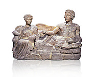 Etruscan cinerary, funreary, urn cover depicting a husband and wife,  from the Padata Necropolis, Chianciano, end of 5th century B.C., inv 94352 National Archaeological Museum Florence, Italy , white background .<br /> <br /> If you prefer to buy from our ALAMY PHOTO LIBRARY  Collection visit : https://www.alamy.com/portfolio/paul-williams-funkystock - Scroll down and type - Etruscan Florence - into LOWER search box. (TIP - Refine search by adding a background colour as well).<br /> <br /> Visit our ETRUSCAN PHOTO COLLECTIONS for more photos to download or buy as wall art prints https://funkystock.photoshelter.com/gallery-collection/Pictures-Images-of-Etruscan-Historic-Sites-Art-Artefacts-Antiquities/C0000GgxRXWVMLyc
