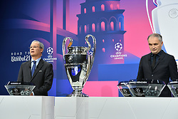 NYON, SWITZERLAND - Monday, December 14, 2020: UEFA Deputy General Secretary Giorgio Marchetti (L) and special guest Stéphane Chapuisat during the UEFA Champions League 2020/21 Round of 16 draw at the UEFA Headquarters, the House of European Football. (Photo Handout/UEFA)