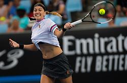 January 16, 2019 - Melbourne, AUSTRALIA - PETRA KVITOVA of the Czech Republic in action against Irina-Camelia Begu of Romania during her second-round match at the 2019 Australian Open Grand Slam tennis tournament. Kvitova won 6:1, 6:3. (Credit Image: © AFP7 via ZUMA Wire)