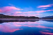 Sunrise over Rainy Lake, Montana.