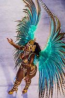 Samba dancer in the Carnaval parade of Unidos de Vila Isabel samba school in the Sambadrome, Rio de Janeiro, Brazil.